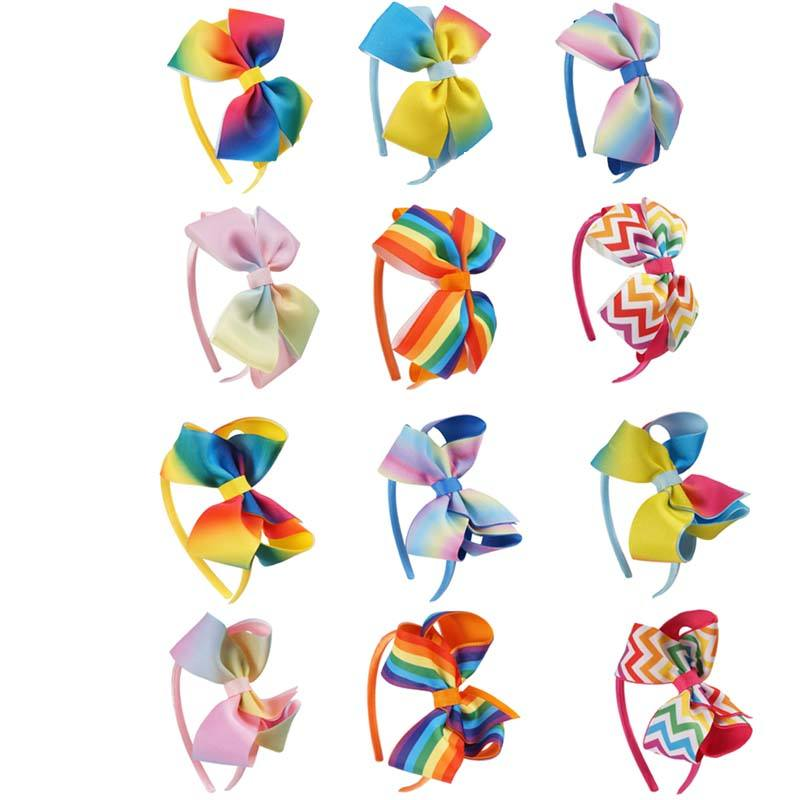 Trẻ Em Bow Tóc Hoops Cầu Vồng Polyester Hairbands Duy Nhất <span class=keywords><strong>Bowknot</strong></span> Và Đôi <span class=keywords><strong>Bowknot</strong></span> Tóc Hoops
