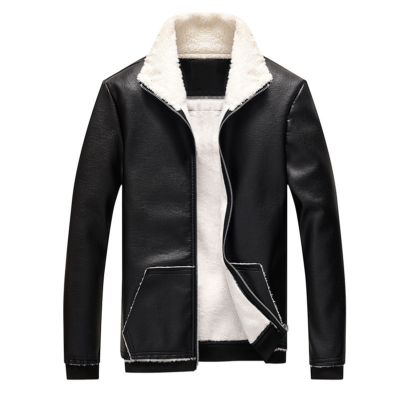 Down and Thickened Leather Jacket in Autumn and Winter Men's Youth Suit Collar Leather Jacket Coat