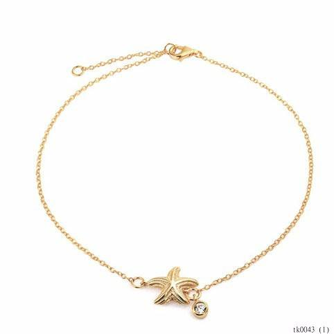 Gold Vermeil Nautical Starfish Anklet Metal CZ Charm Anklet