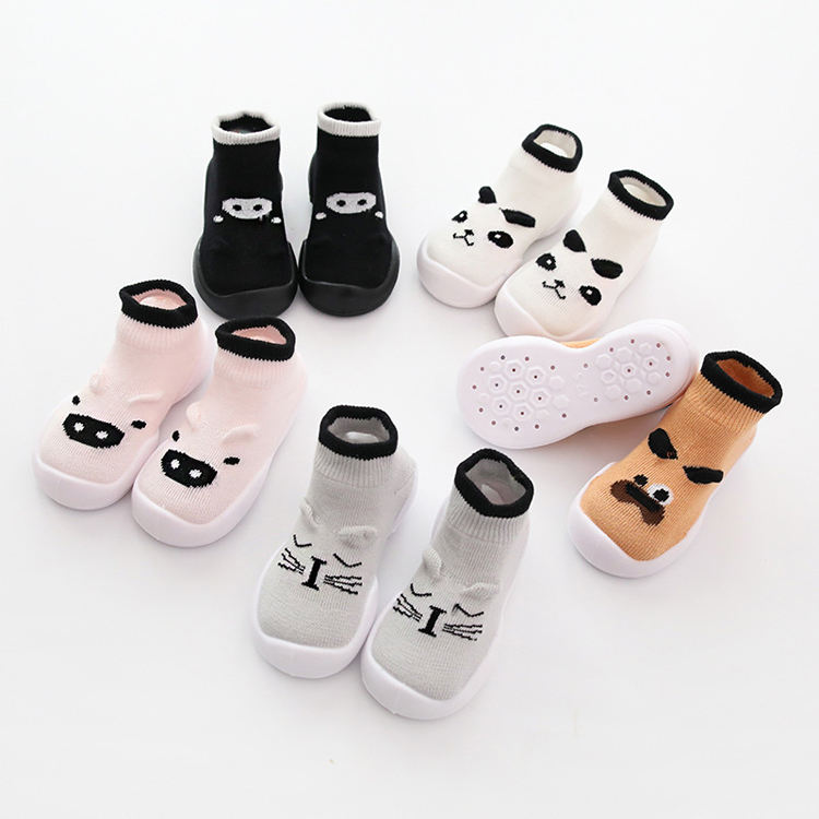 Wholesale Cartoon Baby Shoes Socks With Rubber Soles Cute Animal Baby Anti Slip Grip Shoe Socks
