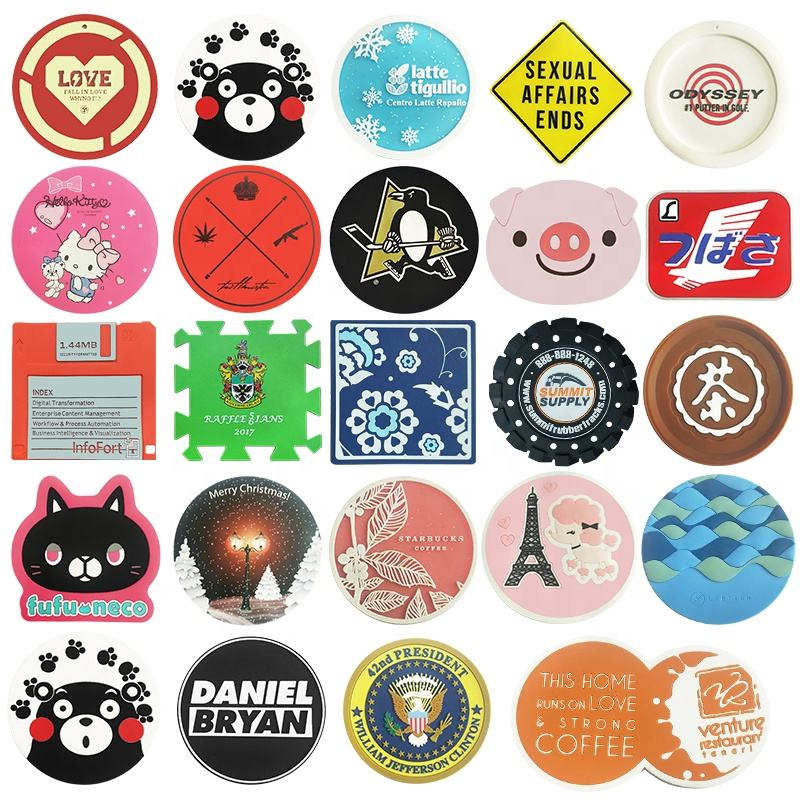 custom silicone coaster with logo soft pvc rubber round coaster