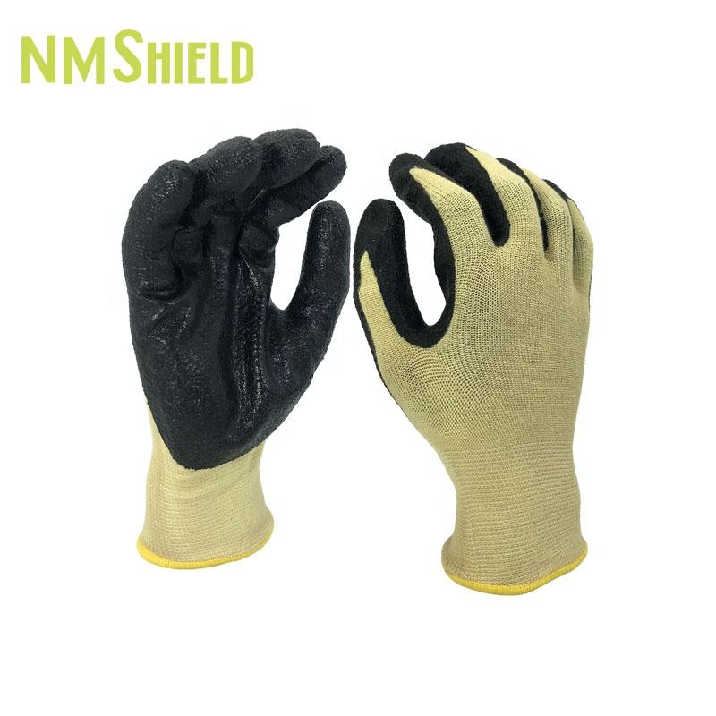 NMSHIELD A2 hand protection aramid nitrile oil grip gloves aramid cut resistance glove