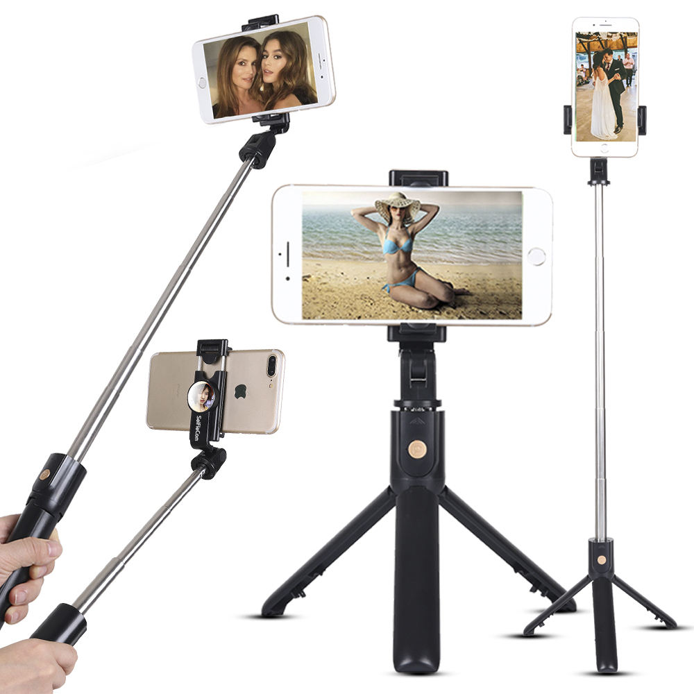 360 degree rotation phone holder sefie stick monopod tripod with remote shutter