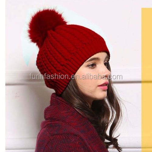 Wholesale Women Winter Warm Wool Hat with Fox Fur Pom poms For Fashion Girls