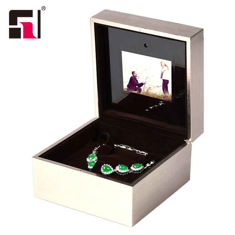Customized Stainless Steel Video 링 상자 보석 Gift Box, 보석 music box, lcd 링 상자