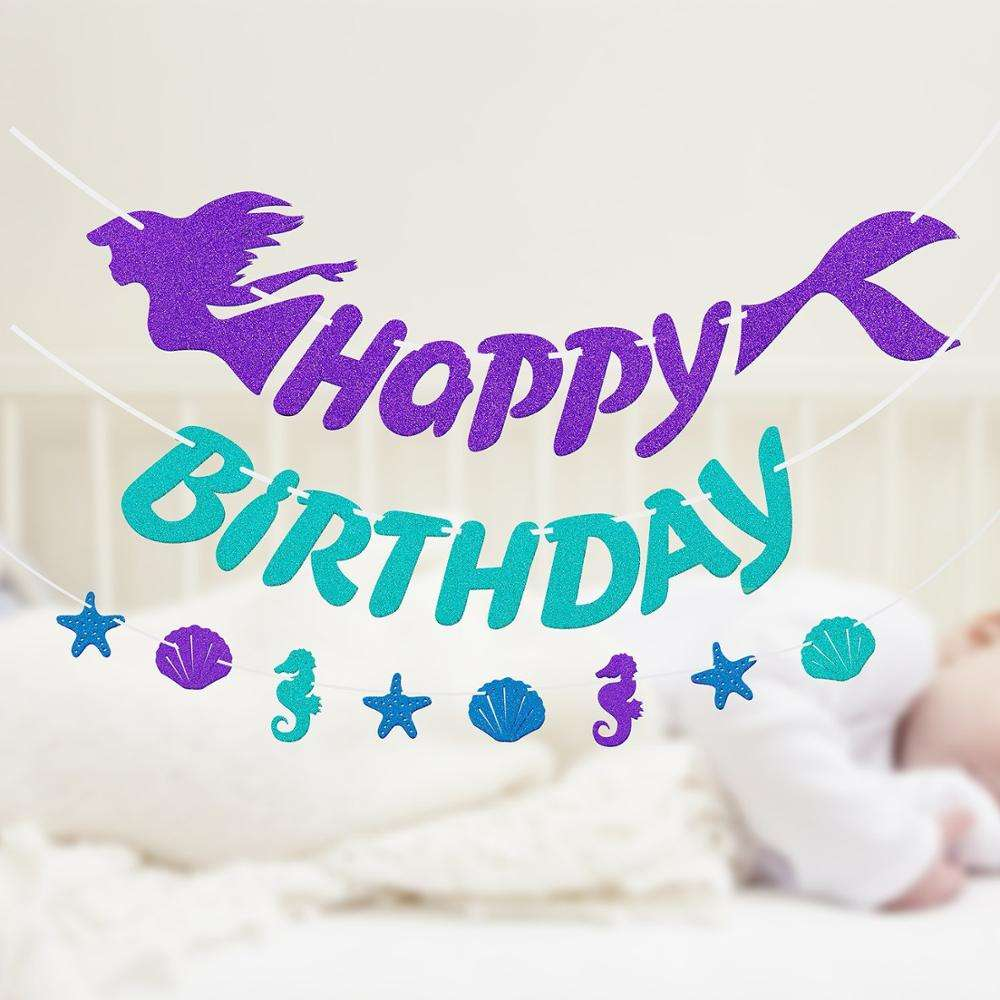 Mermaid Magical Sparkle Happy Birthday banner 3D shadow Happy Birthday Banner Photo Shoot Prop Party Decor Mermaid Theme