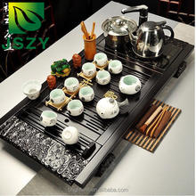 Classic 100% wooden Chinese Gongfu tea table, popular tea tray with induction cookers