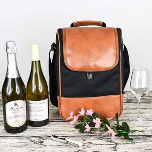 Premium PU Leather Insulated Wine Carrier, Tote Bag/Champagne Cooler Chills Carrier Bag