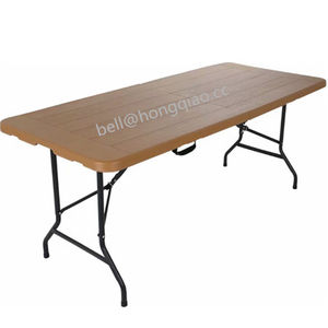 Durable banquet dinner wood grain table/rectangular shape cocktail folding table