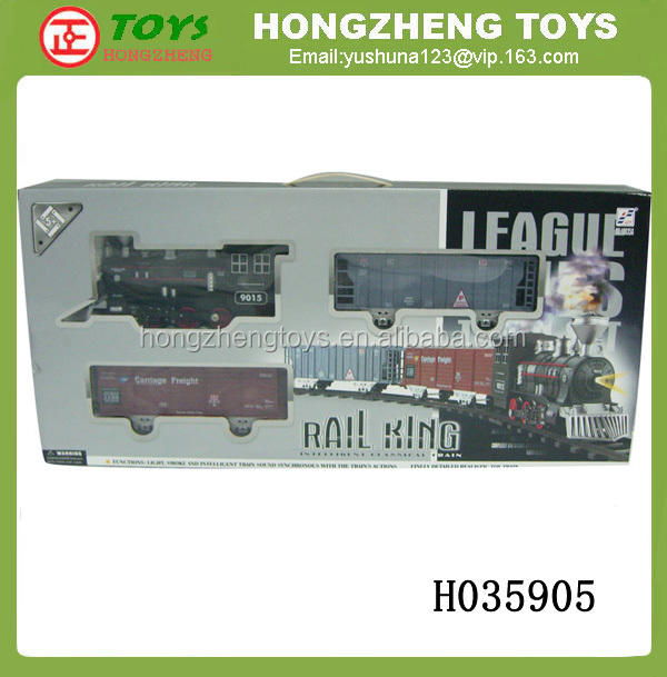 Music electric Toy train,Light railway model, Smoking battery control model train H035905