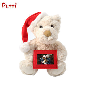 White rose swirl fur teddy bear With Red felt frame and Santa hat