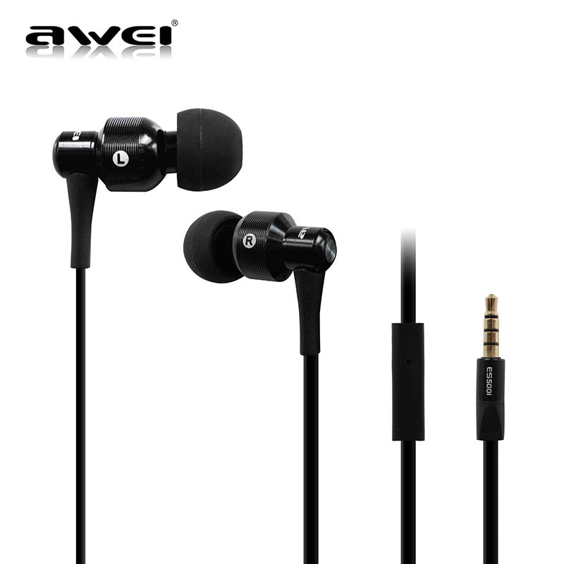 Awei ES-500I 3.5MM Jack Bass Sounds Premium Metal Mic Wired In-Ear Headphone