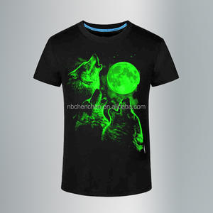luminous T-shirt New 3D mens black cotton printed shirt Night Wolf light 2016 new fashion