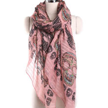 New Arrival Fashion Punk Colorful Skull Print Ladies Long Voile Scarf