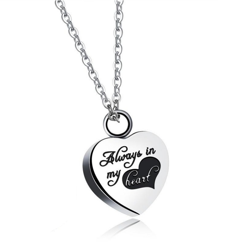 Wholesale Always in my heart cremation jewelry 316L stainless steel Memorial urn jewelry necklace