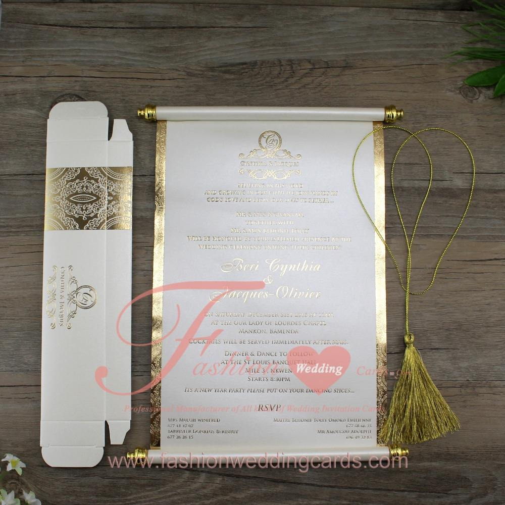 Customized Chinese Luxury Paper Scroll Wedding Invitations Cards