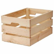 Vintage Unfinished Wood Large Storage Gift Crate Basket for Home or Office Storage and Organization with Handles