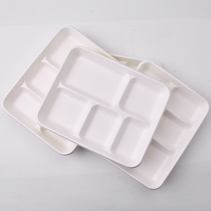 Biodegradable compostable sugarcane bagasse bamboo fiber pulp paper mess tray disposable lunch tray with dividers