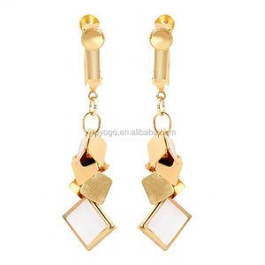 Bohemian Gold Earrings Designs for Girls Copper Long Dangle Pendant Earrings Clip for Women Jewelry