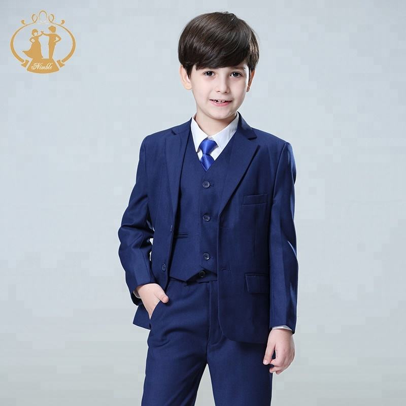 Nimble little boys dark blue three button suit with shirt and tie size 18m-13y 100% polyester