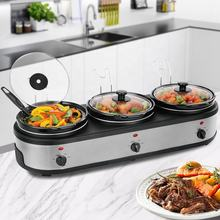Buffet Warmer Original with LED Display Silver 3-Station Crock Pot Triple Slow Cooker and Buffet Server with Lid Rests