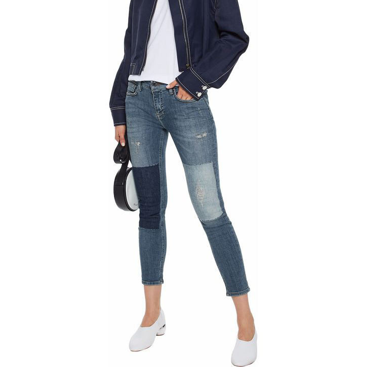 Donna alta jean all'ingrosso patchwork jean