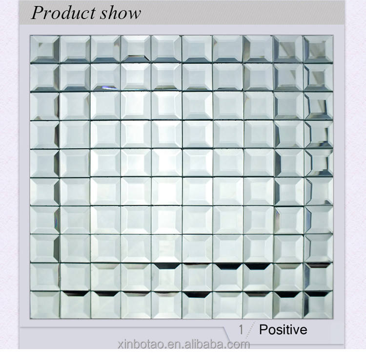 Shiny 3D glass mosaic mirror tile for wall bathroom decoration