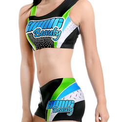 Hot Comfortable Lycra Compression Cheap Girls Cheerleader Uniforms Cheerleading Bras and Shorts