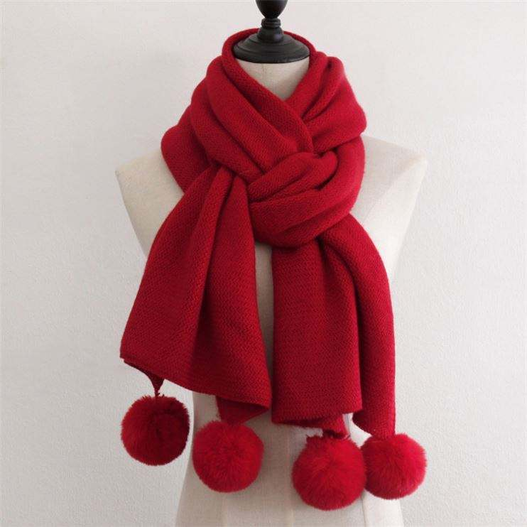 Knitted Scarf With Pompoms Color Mixing Long Women Winter Pompom Scarf