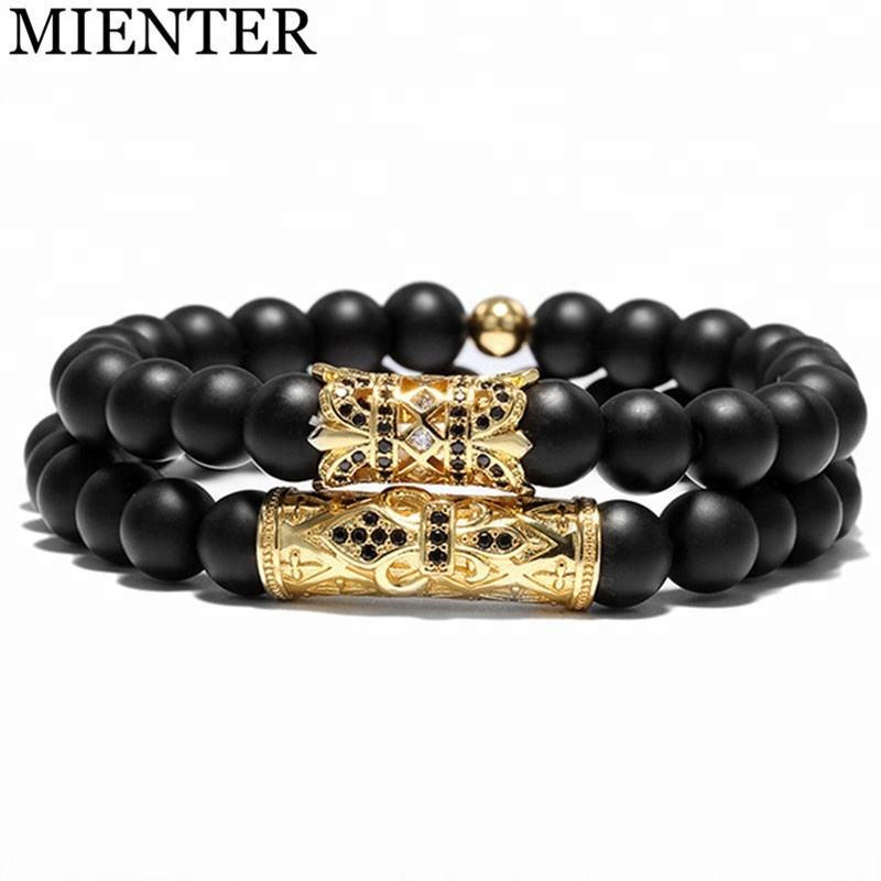 OEM fashion jewelry handmade charm women CZ 8mm stone beads cross macrame bracelet men