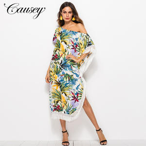 Women One Shoulder Bat Sleeve Design Long Tassel Floral Maxi Dress