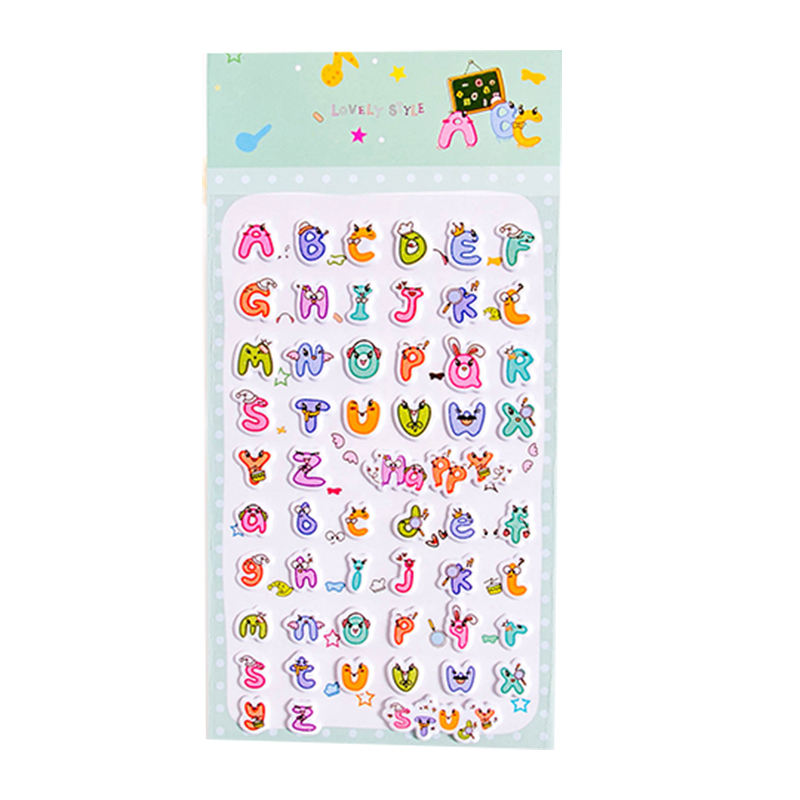 6 Sheets Letters Scrapbooking Bubble Stickers 3D Cartoon Stationery Stickers FY