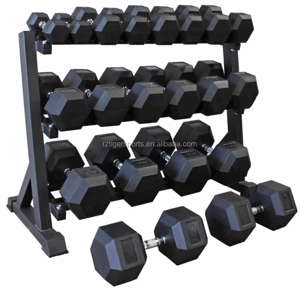 Produsen Grosir Comerical Gym Crossfit Karet Hex Dumbbell