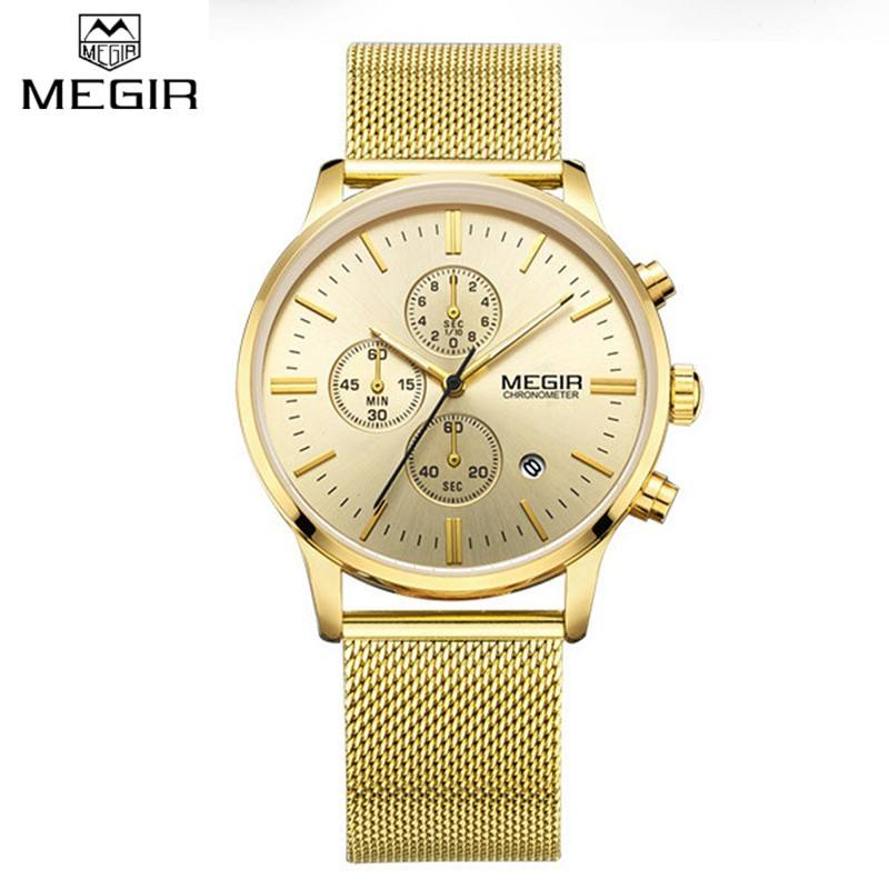 Original Brand Men Business Chronograph Watch 6 Hand Quartz Analog Date Waterproof Stainless Steel Luxury Reloj Megir 2011 Watch