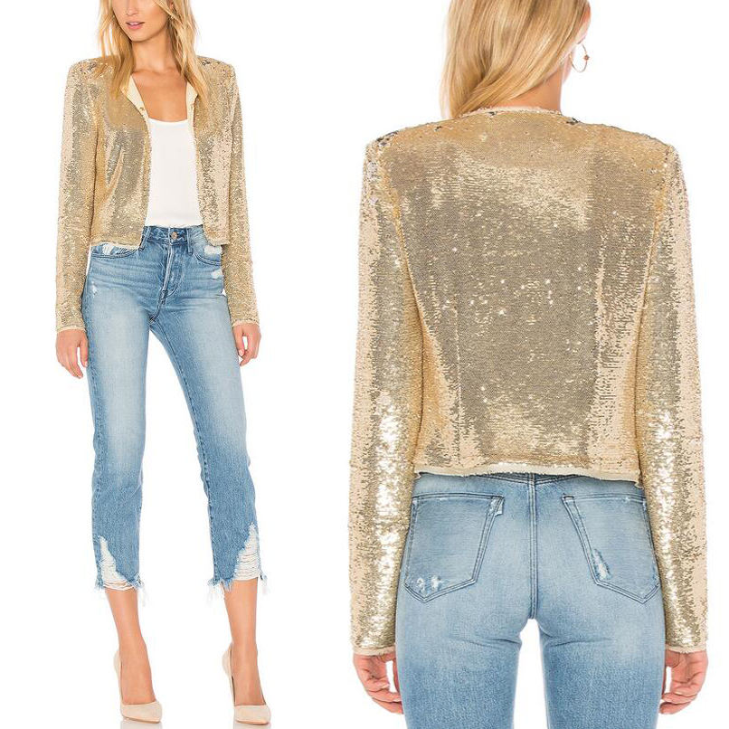 Guangzhou custom golden women sequin bomber jacket