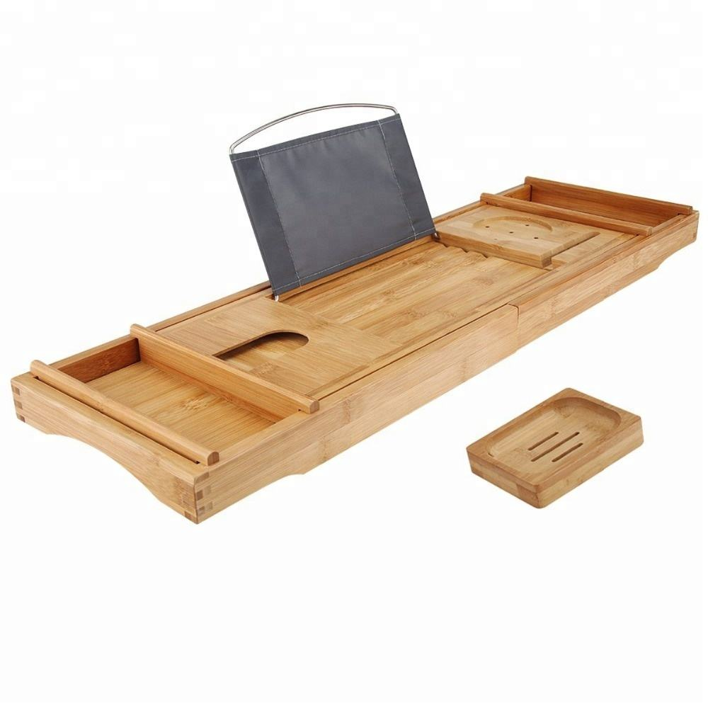 bamboo wooden bathtub bath tub caddy tray with extending sides