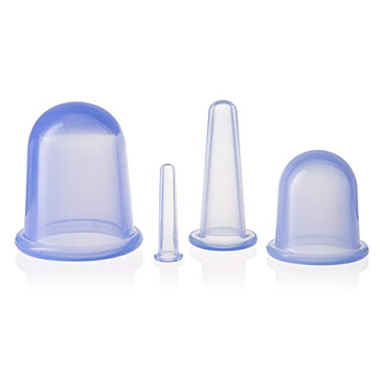 Chinese anti cellulite fat reducing facial Cup 4 pieces therapy body massage silicone cupping set