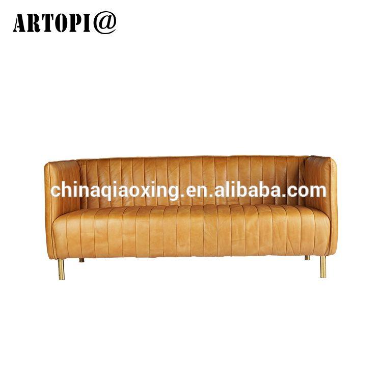 Restaurante interior <span class=keywords><strong>muebles</strong></span> del <span class=keywords><strong>vestíbulo</strong></span> tres asientos sofá metal pierna sofá de cuero genuino