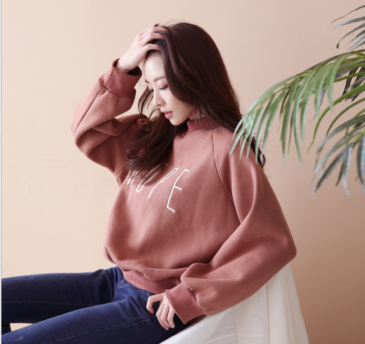new simple embroidered letter round collar loose artistic lady hoodies