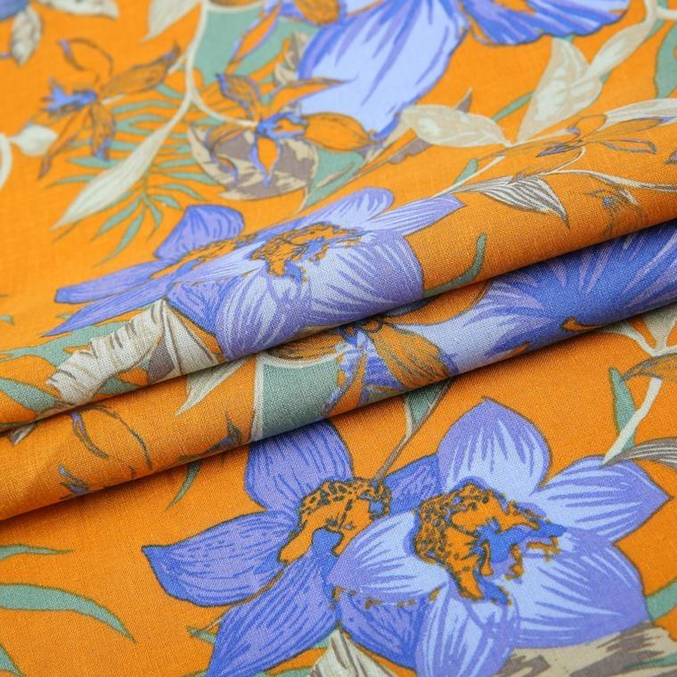 55% linen 45% cotton woven purple yellow Mexican spandex big flower print fabric for dress