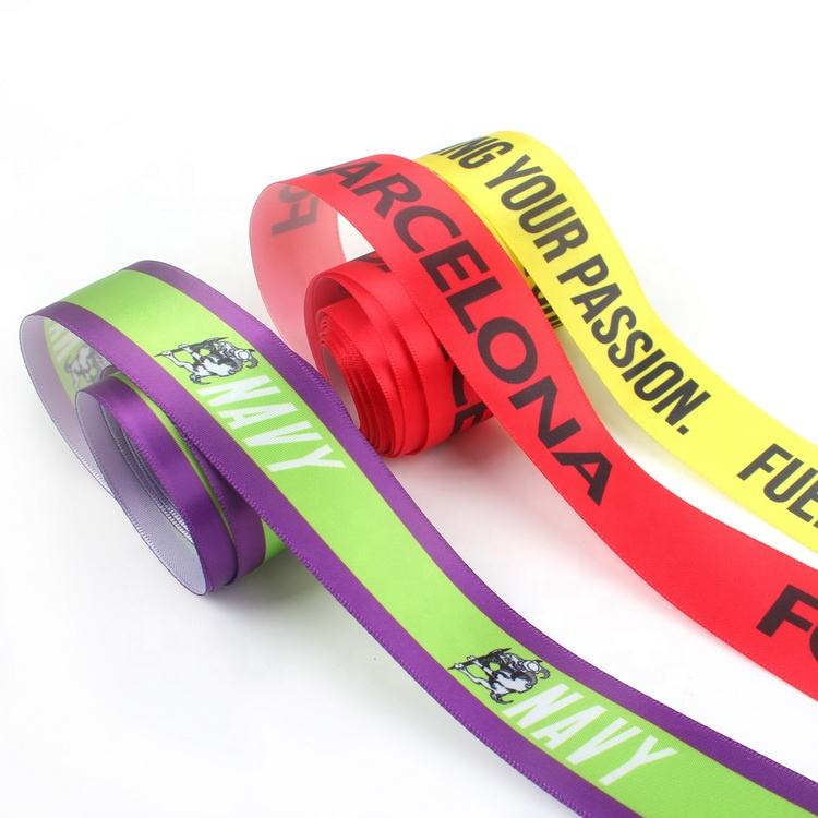 Roll Gifts Tapes and Webbing Wholesale Custom Satin Ribbons with Sublimation Printed Brand Name Logo