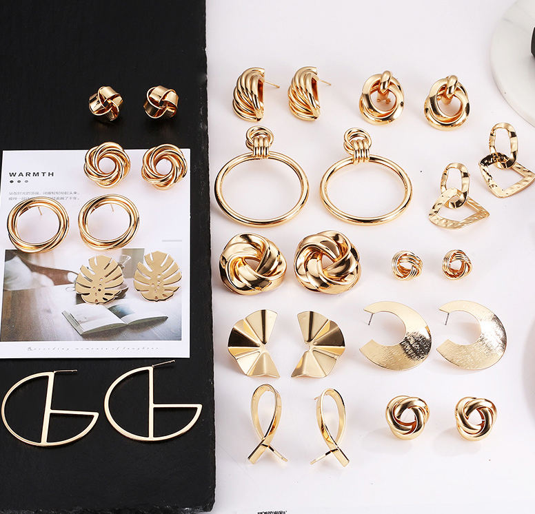 European Exaggerated Geometric Gold Filled Twisted Knot Stud Earrings Gold Metal Knot Earrings