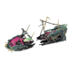 Aquatic Decoration Accessories Colour fracture A submerged ship and A sailboat sailing upwind Pneumatic Resin Decoration