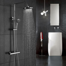 Europe Italy Modern Bathroom Surface Mounted 2 way Exposed Thermostatic Bar Bath Chrome Brass Shower Column Water Mixer Tap Set