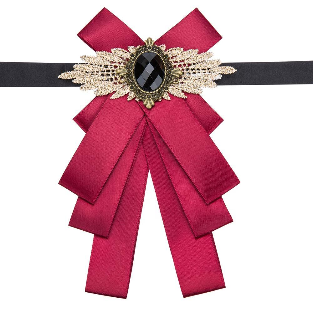 Free Shipping Handmade Rhinestone Women And Men Solid Red Ribbon Bow Brooches
