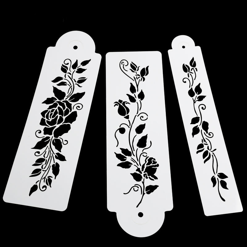 3PCS/SET Tree Vine Leaves Fondant Cake Stencil Mould Border Lace Decor Icing Sugarcraft Tools