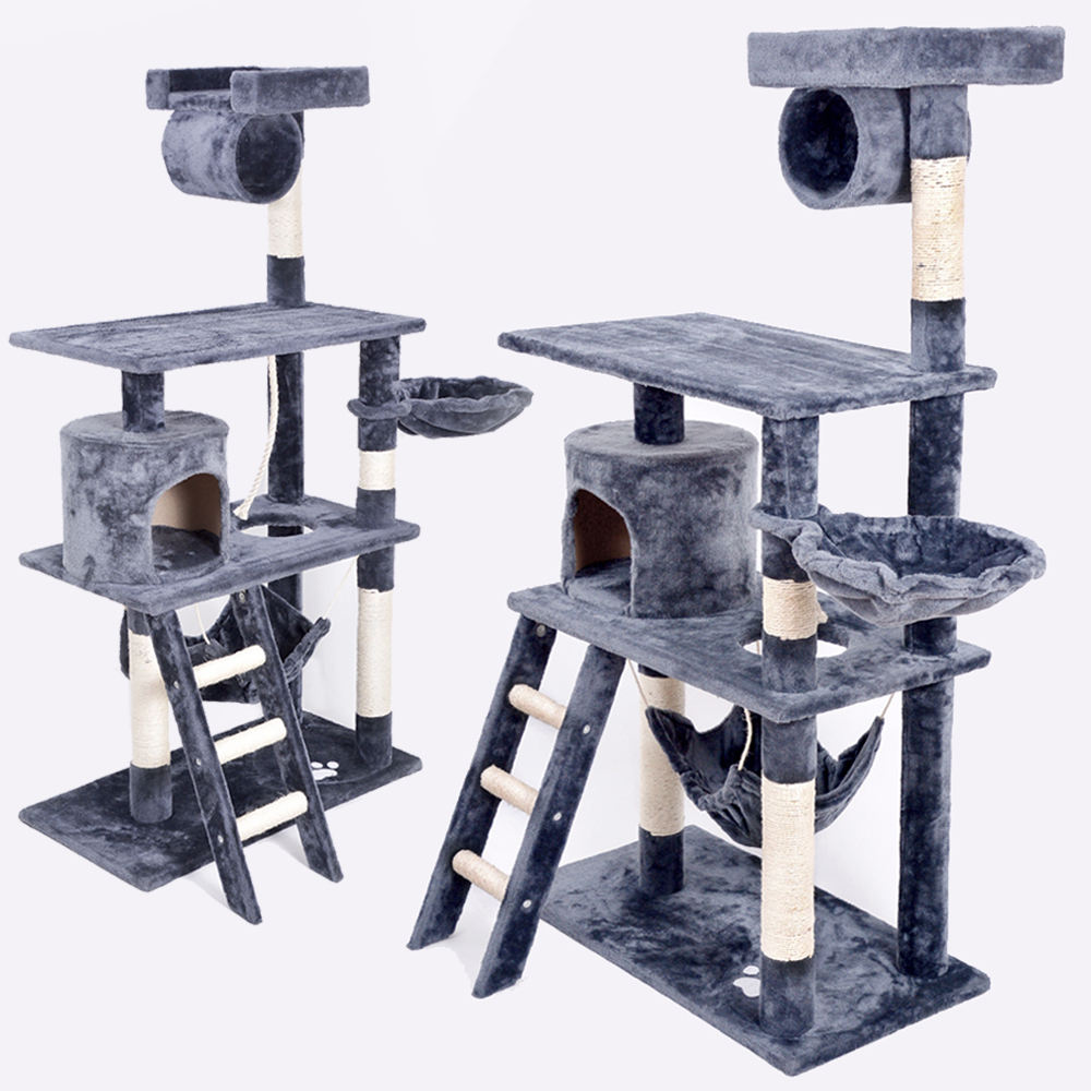 Factory Wholesale Top Pet Furniture House Products MDF Sisal Plush Scratcher Cat Tower Cat Tree