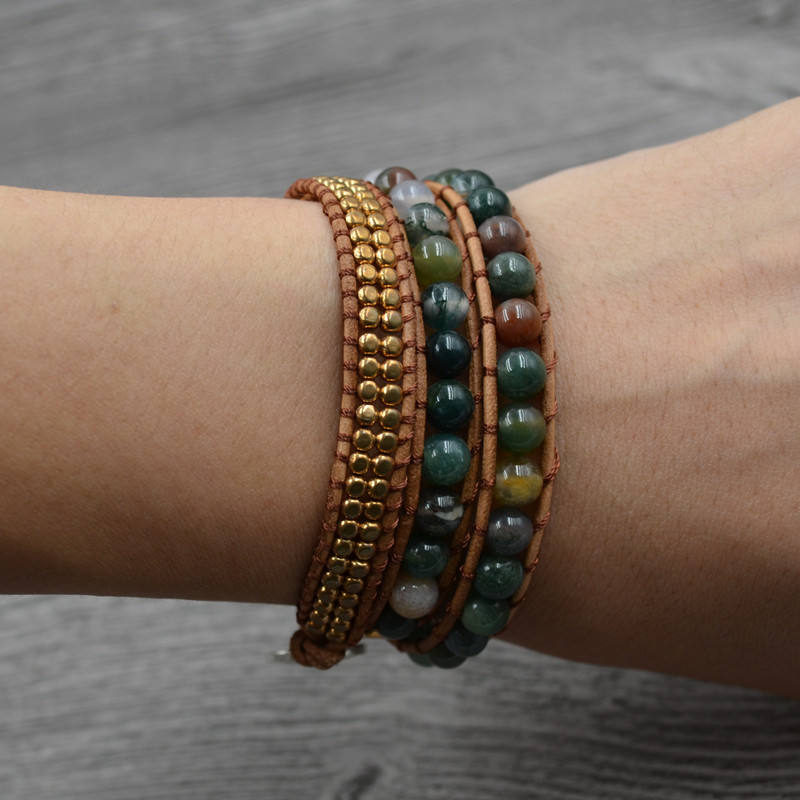 Bead Bracelet Natural Stone Indian Agate & Copper Beads Stone Bracelet Three Multilayer Leather Bracelet