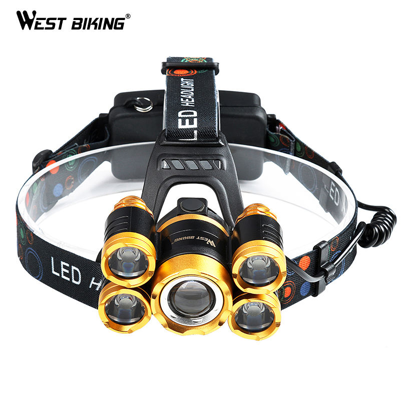 WEST BIKING 600LM T6 Bicycle Head Light Waterproof 18650 Battery X 2 Cycling Flashlight USB Rechargeable Warning Led Light Bike
