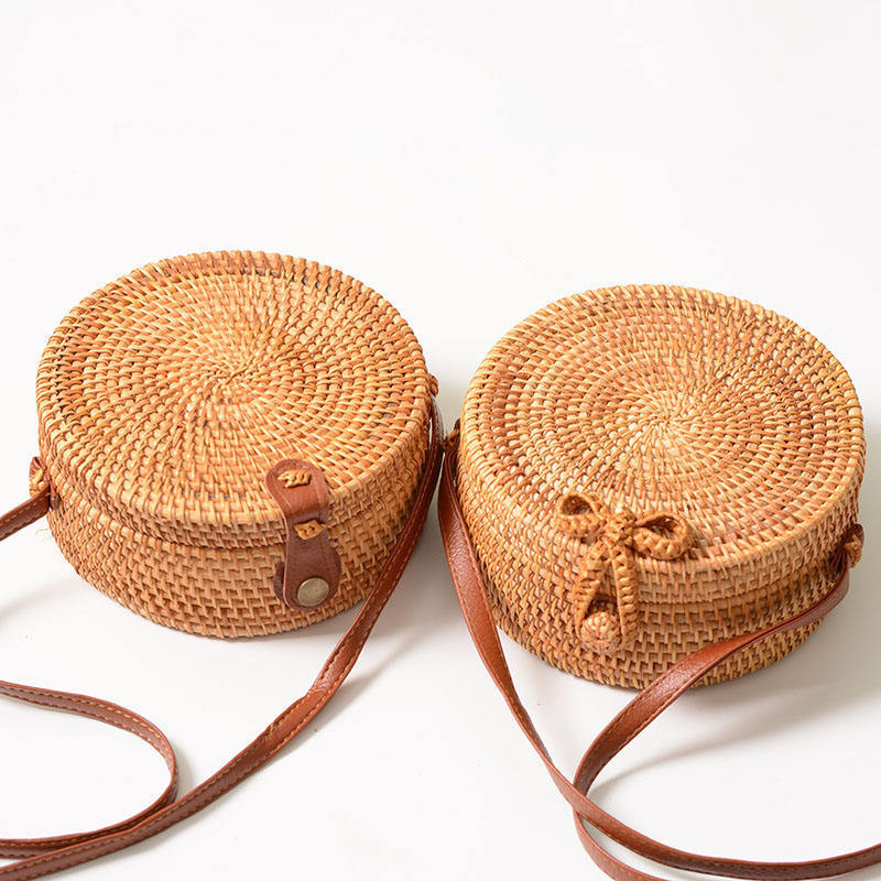 Classic Circle Handwoven Round Retro Rattan Straw Beach Bag Free Drop Shipping Square Shoulder Bag Wholesales Price